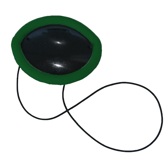 Flexible Plastic Eye Patch with green non-allergenic silicone overmold edge cushion