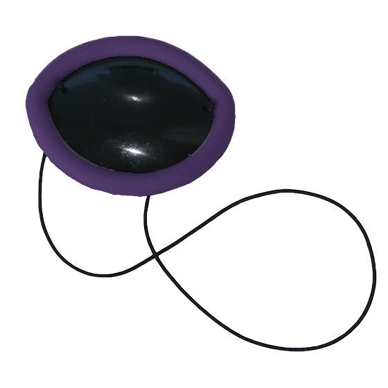 Flexible Plastic Eye Patch with purple non-allergenic silicone overmold edge cushion