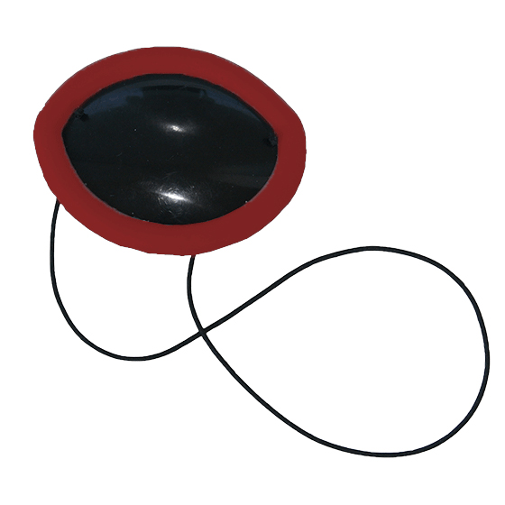 Flexible Plastic Eye Patch with red non-allergenic silicone overmold edge cushion