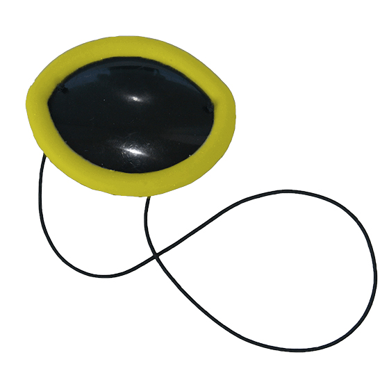 Flexible Plastic Eye Patch with yellow non-allergenic silicone overmold edge cushion
