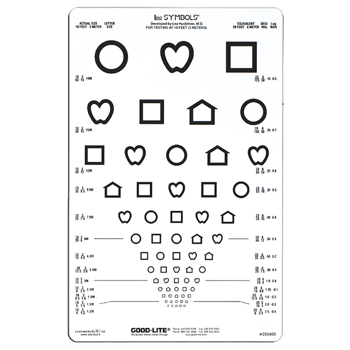 Symbol Distance Vision Chart, 10ft (3 meters)